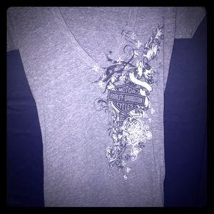 Wmns v neck harley tshirt